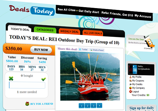 iScripts DailyDeals helps you set up your dailydeals website in minutes.